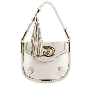 White Gucci leather Britt tassel shoulder bag